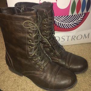 Brown combat boots!